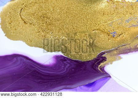 Gold Dust On Violet Liquid Acrylic Artwork Background.