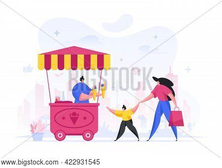 Woman With Child Buy Ice Cream In Street Kiosk Vector Illustration. Joyful Child Character Drags Mot