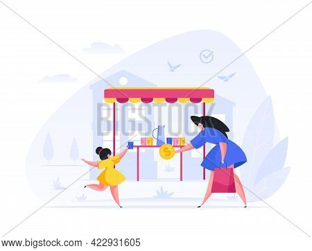 Woman Buys Lemonade From Little Girl In Stall Cartoon Illustration. Female Character With Package Ha