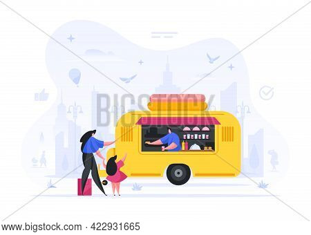 People Buy Food At Kiosk Wheels Vector Illustration. Woman And Child Order Freshly Baked Fast Food.