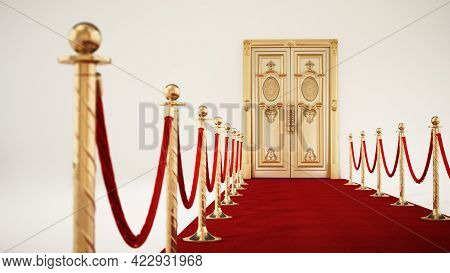 Rolled Up Red Carpet Isolated On White Background. 3d Illustration.
