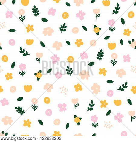 Floral Background Decorated With Multicolored Blooming Flowers And Leaves Seamless Vector Pattern. S