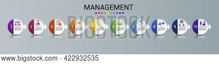 Infographic Management Template. Icons In Different Colors. Include Lead Management, Criticism, Spec