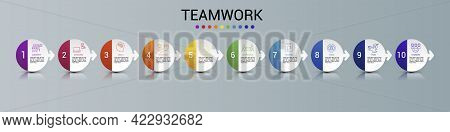 Infographic Teamwork Template. Icons In Different Colors. Include Teamwork, Trust, Vision, Planning