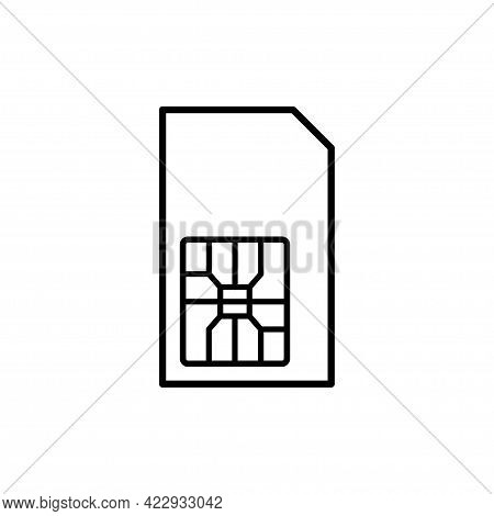 Sim Card Vector Mobile Phone Icon Chip Line Style. Sim Card Icon Symbol Vector Illustration Isolated