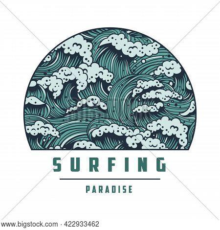 Surfing Wave With Foam. Hawaii Marine Paradise