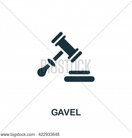Gavel Icon. Monochrome Simple Element From Civil Rights Collection. Creative Gavel Icon For Web Desi