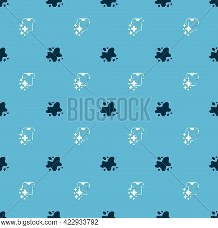 Set Water Spill And Drying Clothes On Seamless Pattern. Vector