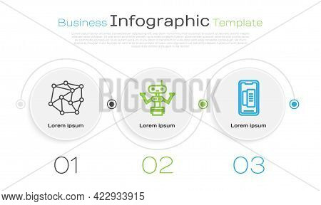 Set Line Neural Network, Robot And Smartphone, Mobile Phone. Business Infographic Template. Vector