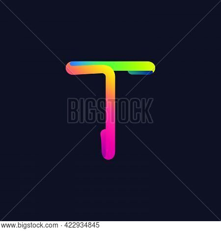 T Letter Logo Made Of Multicolor Gradient Neon Line. Vector Bright Icon For Multimedia Labels, Night