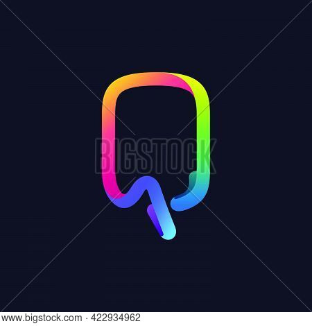 Q Letter Logo Made Of Multicolor Gradient Neon Line. Vector Bright Icon For Multimedia Labels, Night