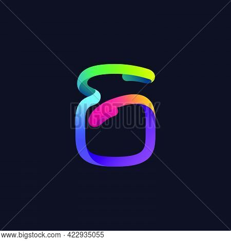 Number Six Logo Made Of Multicolor Gradient Neon Line. Vector Bright Icon For Multimedia Labels, Nig