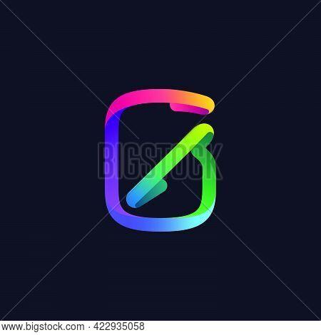 Number Zero Logo Made Of Multicolor Gradient Neon Line. Vector Bright Icon For Multimedia Labels, Ni