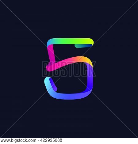 Number Five Logo Made Of Multicolor Gradient Neon Line. Vector Bright Icon For Multimedia Labels, Ni
