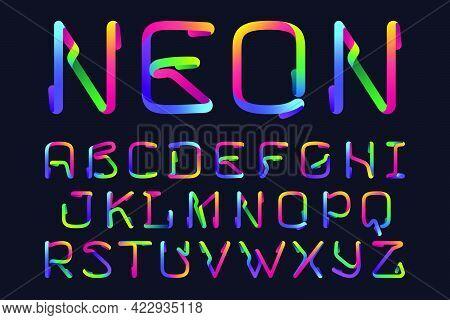 Alphabet Made Of Multicolor Gradient Neon Line. Vector Bright Icon For Multimedia Labels, Nightlife