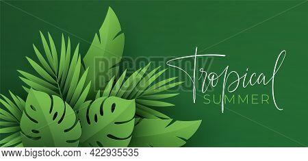 Hello Summer Banner. Paper-cut Green Tropical Leaves Of Palm, Monstera. Summer Background With Tropi