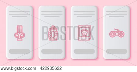 Set Line Microphone, Soda Can With Straw, Photo And Gamepad. White Rectangle Button. Vector