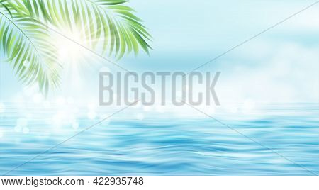 Summer Seascape. The Rays Of The Sun And The Leaves Of The Palm Tree On The Background Of The Seasca