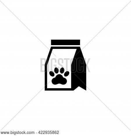 Animal Food Pack, Pet Meal Pack. Flat Vector Icon Illustration. Simple Black Symbol On White Backgro