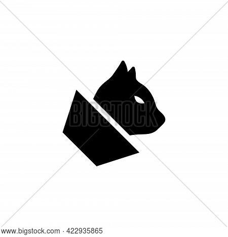 Cat With Veterinary Cone Collar. Flat Vector Icon Illustration. Simple Black Symbol On White Backgro