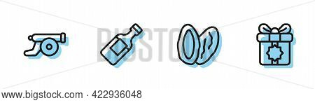 Set Line Date Fruit, Ramadan Cannon, Bottle Of Water And Gift Box Icon. Vector