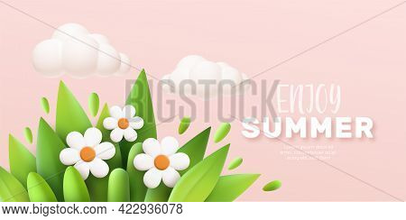Enjoy Summer 3d Realistic Background With Clouds, Daisies, Grass And Leaves On A Pink Background. Ve