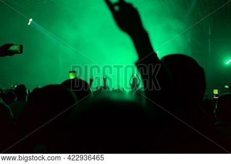 A Crowd Of People At The Concert Have Fun And Dance To The Music At The Concert. Green Background. T