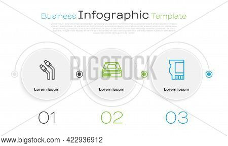 Set Line Lan Cable Network Internet, Optical Disc Drive And Sd Card. Business Infographic Template.