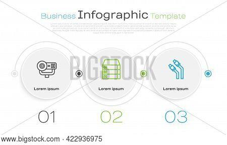 Set Line Web Camera, Server, Data, Hosting And Lan Cable Network Internet. Business Infographic Temp
