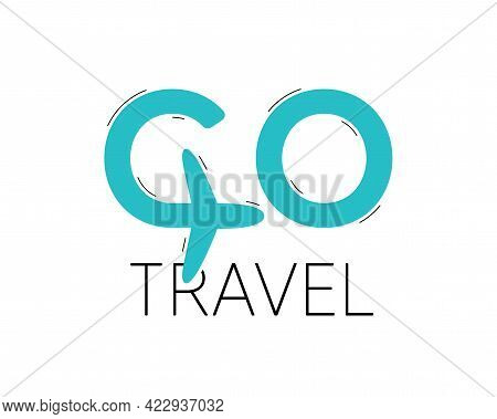Go Travel Logo Vector Design. Vacation Tour Icon With Airplane. Go Holiday Travel Trip Symbol. Isola