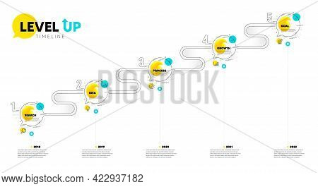 Level Up Timeline. Roadmap Journey 5 Steps. Research Idea, Growth Chart And Goal Target Icons. Prese