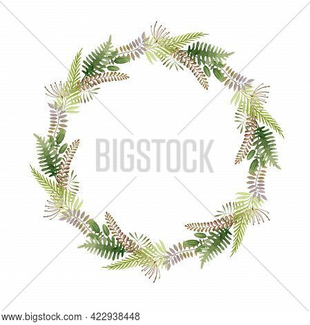 Floral Natural Boho Wreath. Hand Drawn Rustic Elegant Round Frame. Countryside Wreath From Fern, Eve