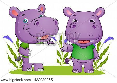 The Couple Of Hippopotamus Is Holding A Blank Board And Explaining The Board Of The Illustration