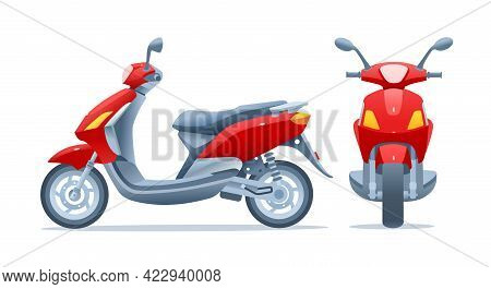 Red Scooter, Two Views, Frontal And Side, Isolated On A White Background. Motorcycle Front And Side