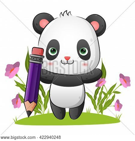 The Clever Panda Is Holding A Big Magic Pencil In The Garden Of The Illustration