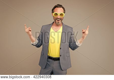 Summer Office Style. Vacation Spirit. Summer Vacation And Fashion. Happy Man In Party Glasses. Offic