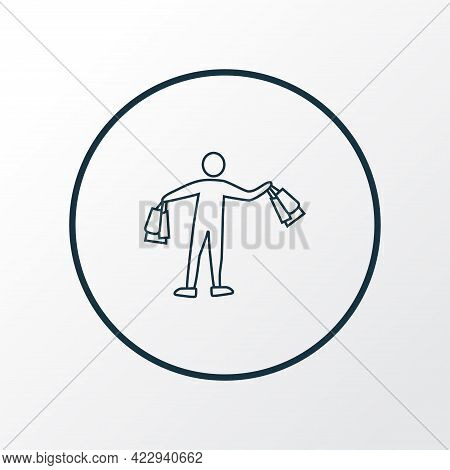 Shopping Icon Line Symbol. Premium Quality Isolated Shopper Element In Trendy Style.