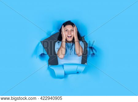 Oh My God. Express Human Emotions. Female Character. Happy Woman Feeling Surprise. Girl On Blue Back