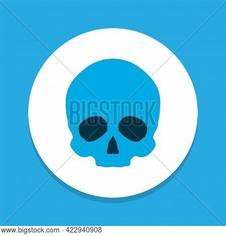 Cranium Icon Colored Symbol. Premium Quality Isolated Skull Element In Trendy Style.