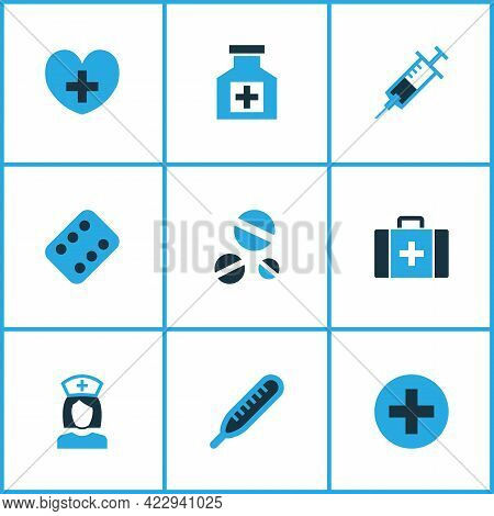Drug Icons Colored Set With Thermometer, Syringe, Cure And Other Plus Elements. Isolated Vector Illu