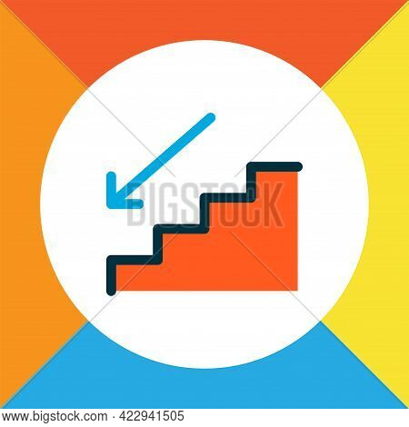 Steps Down Icon Colored Line Symbol. Premium Quality Isolated Staircase Element In Trendy Style.