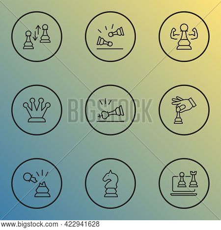 Chess Icons Line Style Set With Hand With Bishop, Pawn Exchange, Kings Crown Competition Elements. I