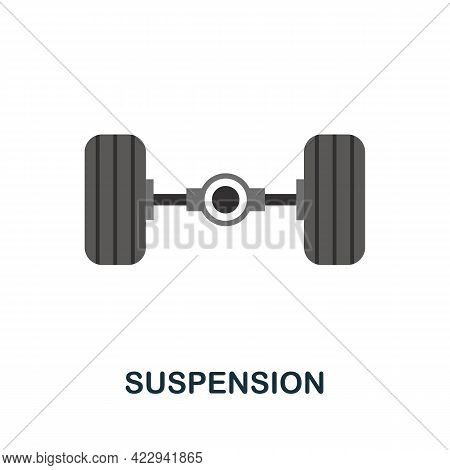 Suspension Flat Icon. Color Simple Element From Car Servise Collection. Creative Suspension Icon For