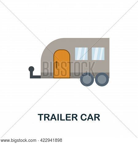 Trailer Car Flat Icon. Color Simple Element From Car Servise Collection. Creative Trailer Car Icon F