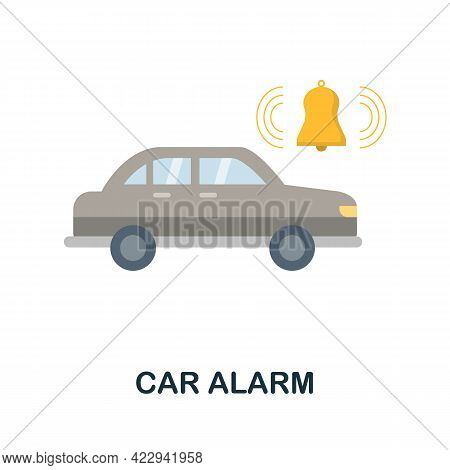 Car Alarm Flat Icon. Color Simple Element From Car Servise Collection. Creative Car Alarm Icon For W