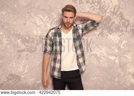 Follow Your Style. Stylish Guy Abstract Background. Handsome Man In Casual Style. Everyday Wardrobe.
