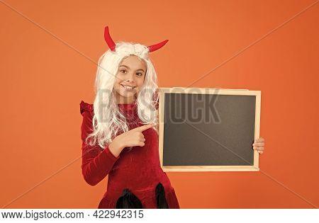 Got Treats. Happy Halloween. Child In Devil Horns Hold Blackboard. Kid Has White Hair Wig. Childhood