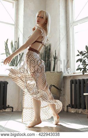 Blonde Woman Dance In Long Dress, Vintage Interior Woman Posing At Window. Sensual Romantic Retro Lo