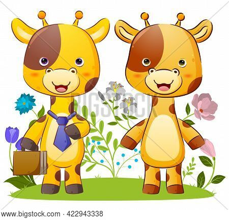 The Tidy Couple Of Giraffe Is Ready To Go To The Office Together Of The Illustration
