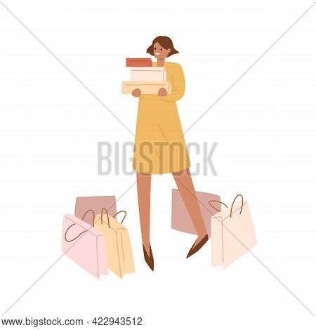 Happy Smiling Woman Standing With Many Shopping Paper Bags Around, Holding Stack Of Boxes. Buyer Wit